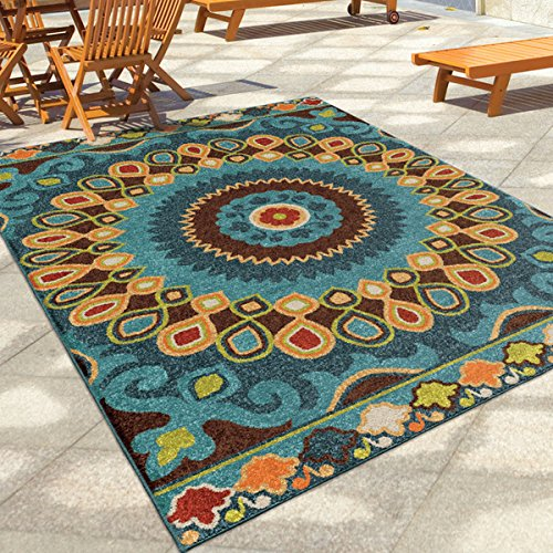 Carolina Weavers Indoor/Alfresco Santa Barbara Collection Bangkok Multi Area Rug (5'2 x 7'6)