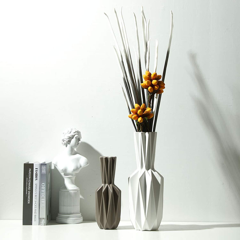 陶器の花瓶、現代の抽象的なアートの創造的な折り紙の花瓶の家の装飾、2つの読み込まれた B07SPRDG6Y