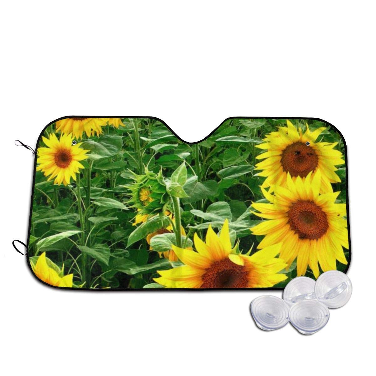 Yellowsunflowerflowerfieldwallpaper Home Universal Front Auto Car Windshield Sun Shade Sun Visor Car Sun Shade Keep Vehicle Accessories,Size 55x30 Inch by huagu