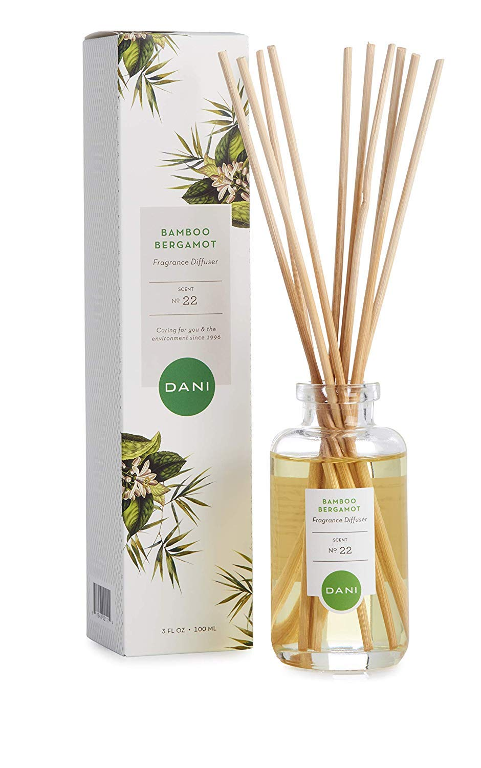 Natural Reed Diffuser Set by DANI Naturals - Clean Bamboo Bergamot Scent - Aromatherapy Essentials Oils - Alcohol Free - 10 Diffuser Sticks - 3.5 Ounce Glass Bottle