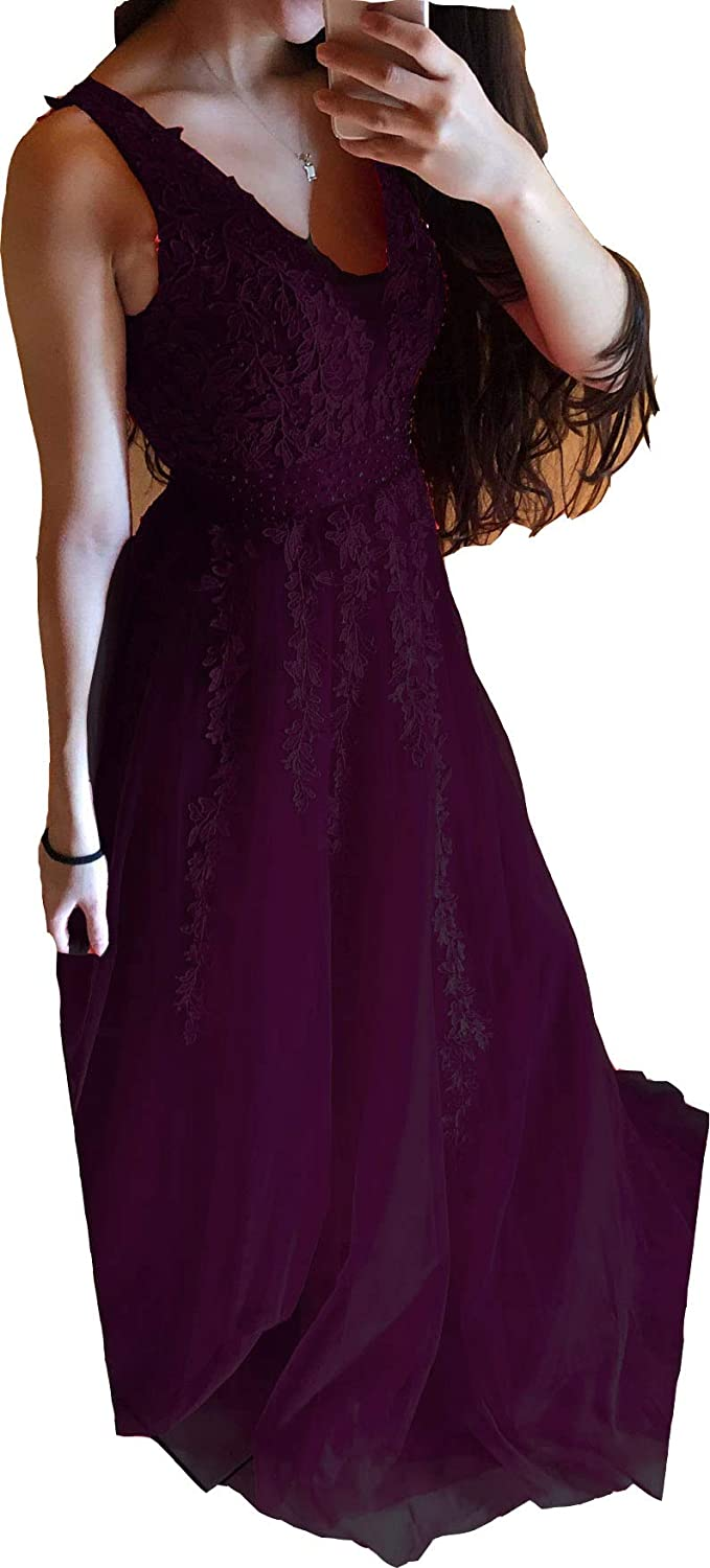 Dark Plum Lemai Sheer V Neck Long Tulle Beaded Lace A Line Formal Evening Gown Prom Dress