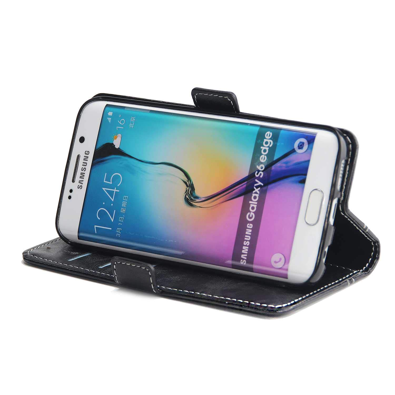 SONWO Simple R/étro PU Cuir Flip Portefeuille de Protection Etui avec Rangements de Cartes et Fonction Stand pour Samsung Galaxy S6 Edge Rouge Coque Galaxy S6 Edge