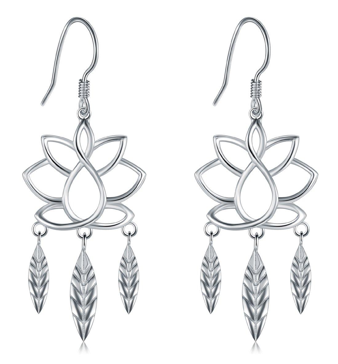 925 Sterling Silver Earrings, BoRuo Lotus Flower Yoga Leaf Drop Earrings
