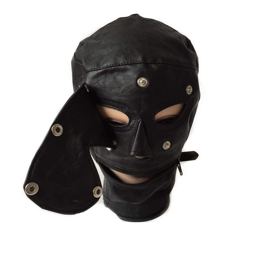 Jacquelyn - Arnés de Piel para la la para Cabeza con diseño de máscara de Cuero. Ojos de Boca Abierta. Máscara de Cofre de Bondage con Fetiche erótico para Colillas de Pareja 8b0750