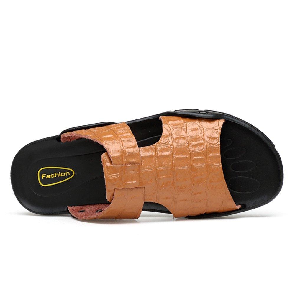 MUMUWU Mens Genuine Leather Beach Slippers Faux Crocodileskin Texture Non-slip Sandals Guess