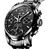 TDO Automatic Mechanical Watches for Men Self Winding no Battery Stainless Steel Strap Luxury Moon Phase Luminous Waterproof