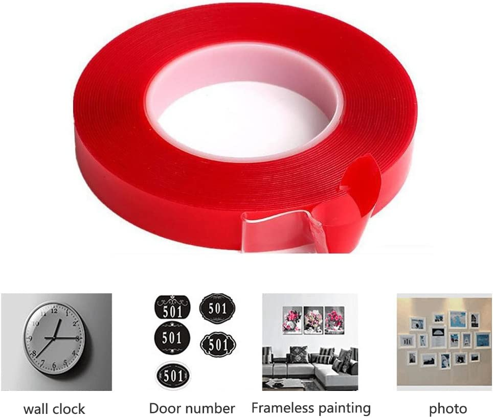 Odowalker 32.8ft Auto and Household 11 yards//10m PET Acrylic Clear Double Sided Adhesive Tape Weatherproof Heavy Duty Glue Incredibly Strong Double-Sided Tape for Industry 20mm/×10m