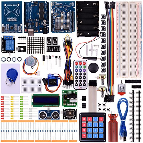 Kuman RFID Master Starter Kit for Arduino, Update UNO R3 projects with Tutorials, RC522 RFID Sensor Module LCD Servo DC Motor K25 (Updated Arduino RFID Kit) by Kuman