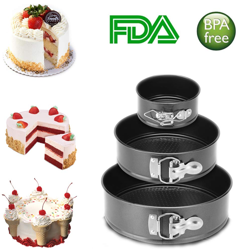 Non-Stick Springform Pan Set of 3 Leakproof Round Cheesecake Pan With Removable Bottom 4''/7''/9'' Home Cake Baking Pan