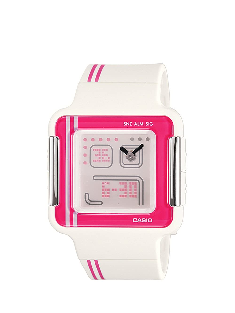 Casio Women s LCF21-4 Square White and Pink Digital Sport Watch
