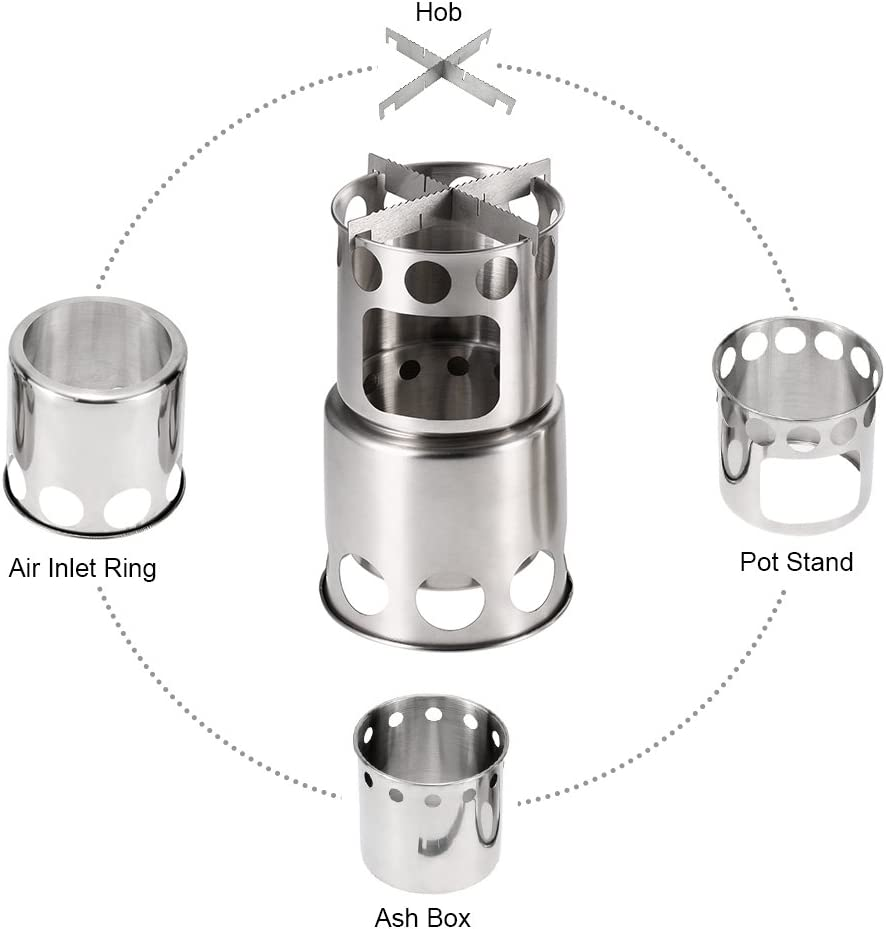 Lixada Portable Outdoor Cooking Pot Stainless Steel Camping Backpacking Pot Cup with Folding Handles