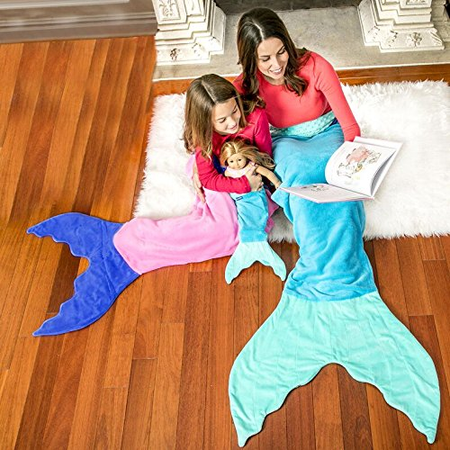 Blankie Tails Mermaid Tail Blanket for Adults and Teens (Ocean Blue and Aqua)