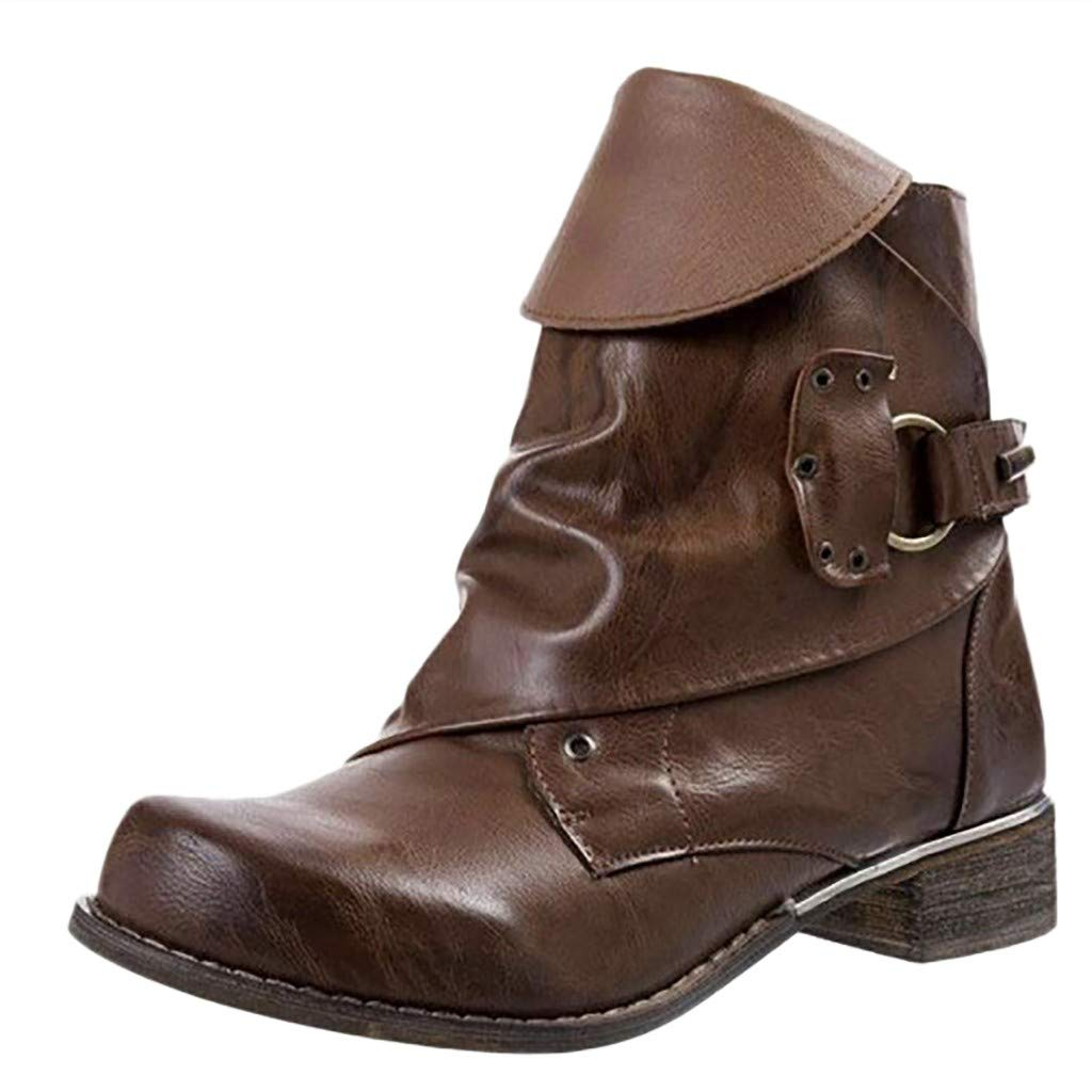 LONGDAY Leather Round Toe Low Heel Soft ShoesWomens Winter Snow Boot Zipper Buckles Strap Warm Ankle Mid Flat Boot by LONGDAY-Boots