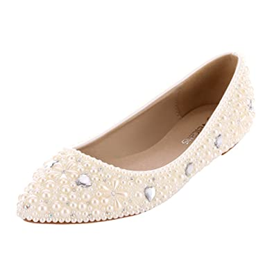 Amazon.com | VELCANS Womens\'s Crystal Rhinestone and Pearl Flat ...