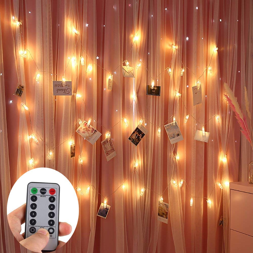 ZOUTOG Photo Clip String Lights, 50 Photo Clips 16ft / 5m Battery Operated LED Clip Lights (Remote & Timer, 8 Modes), Warm White Starry Light for Hanging Photos, Cards and Artworks