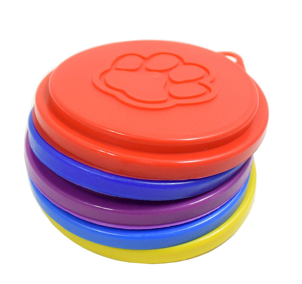 LAAT 2PCS Pet Food Covers Dog Cat Can Tin Cover Reusable Pet Food Storage Can Lid Cover Lid Top Cap with Paw Print Pet Cans - Random Color