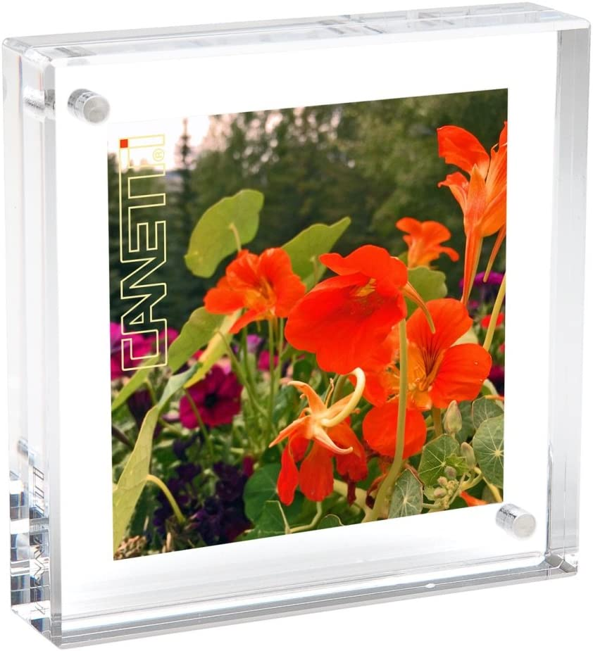 Canetti Original Magnet Frame Square 2x2 Double Sided Magnetic Picture Frame, Floating Photo Frame, Two Acrylic Panel