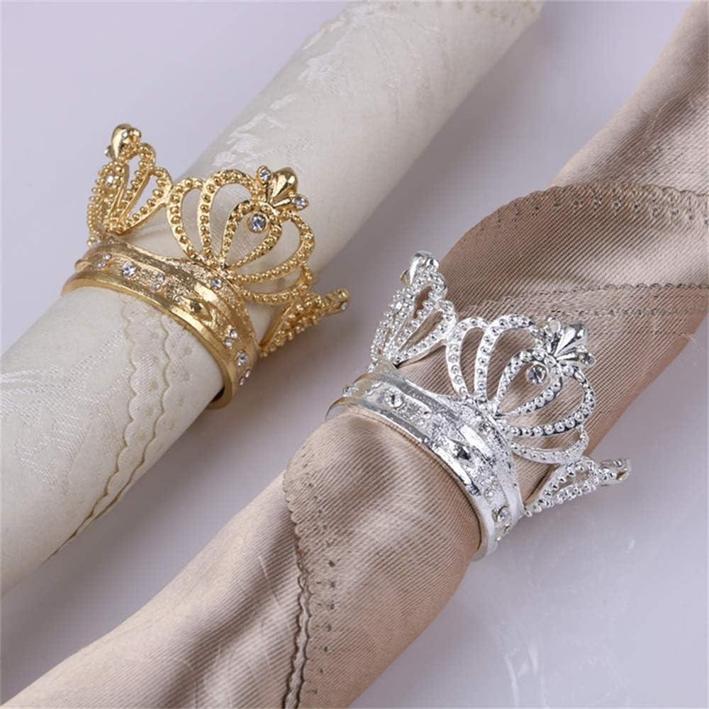 5pcs Alloy Diamant-Kronen-Serviettenring Serviette Schnalle Bankett Hochzeit Cloth Ring Mund Kreis Dinner Table Party Restaurant Hauptdekoration Color : Silver