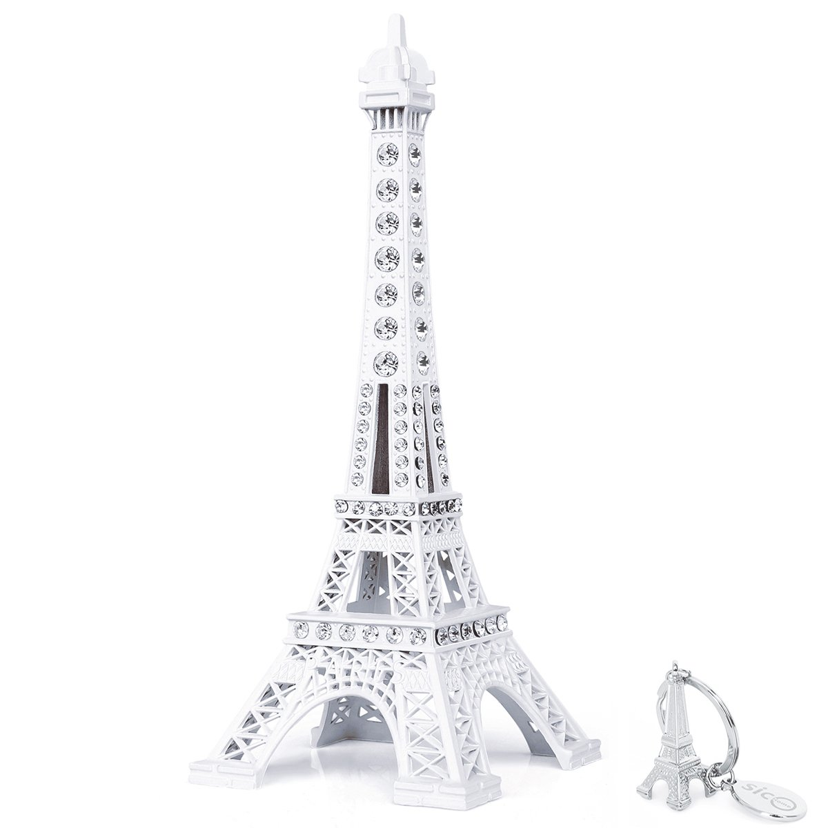SiCoHome Eiffel Tower Cake Topper 7.0inch white with Blings Figurine Replica Centerpiece Room Table Eiffel Tower Decor French Souvenir Gift From Paris, France, for Gifts, Party And House Decoration