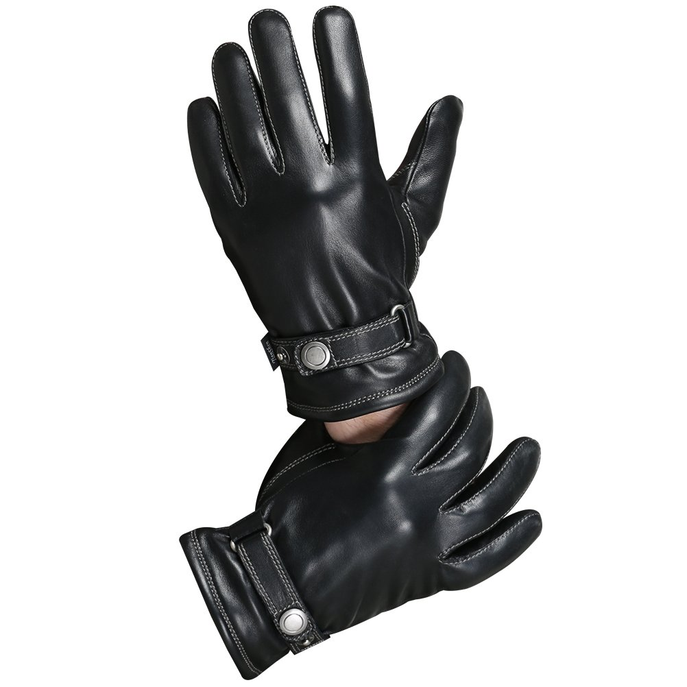 CHULRITA Mens Winter Genuine Leather Lined Dress Driving Gloves, Black, M