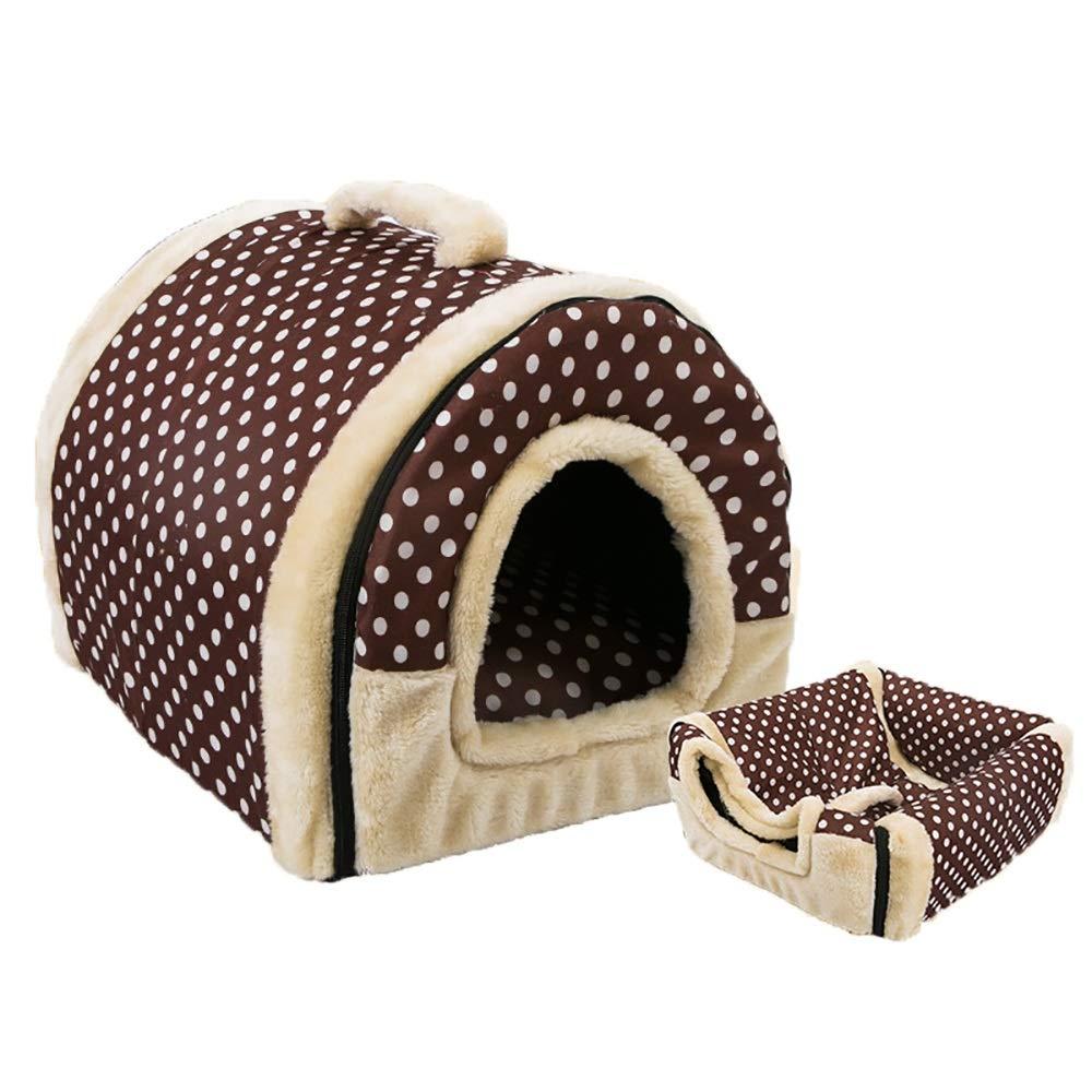 M(45x38x36cm) Pet Bed, Soft Washable Dog Pet Warm Bed,Dual Use Detachable Pet Nest, Coffee Dot (Size   M(45x38x36cm))