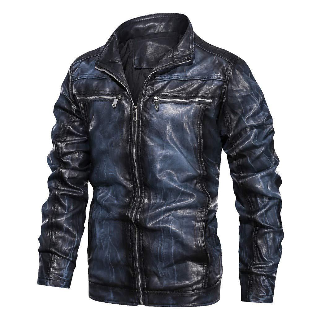 Men's Vintage Stand Collar Coat Gradient Color Light-Fleece Lined Faux Leather Moto Jacket Blue by SSYUNO-men tops