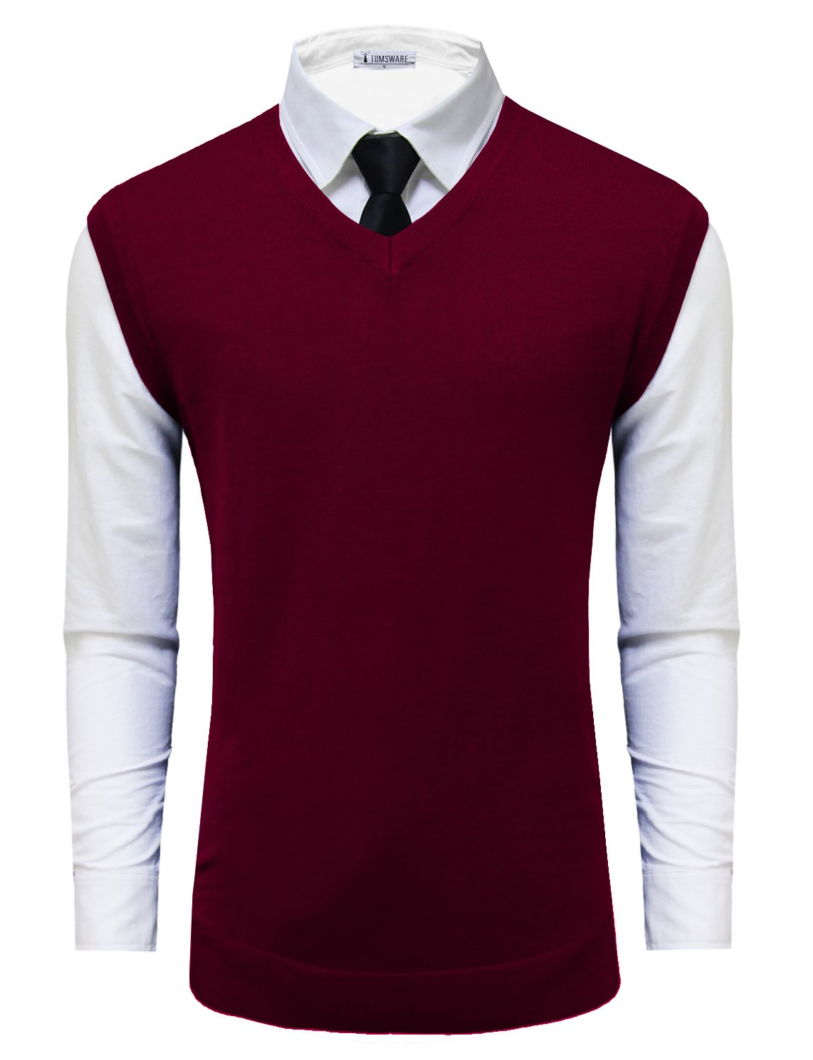 Tom's Ware Mens Casual Pullover V-Neck Sweater Vest TWMV05-WINE-US L