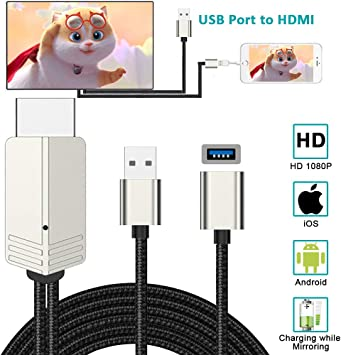 Compatible con iPhone iPad Android a HDMI Cable Adapter, Weton 6.6 ...