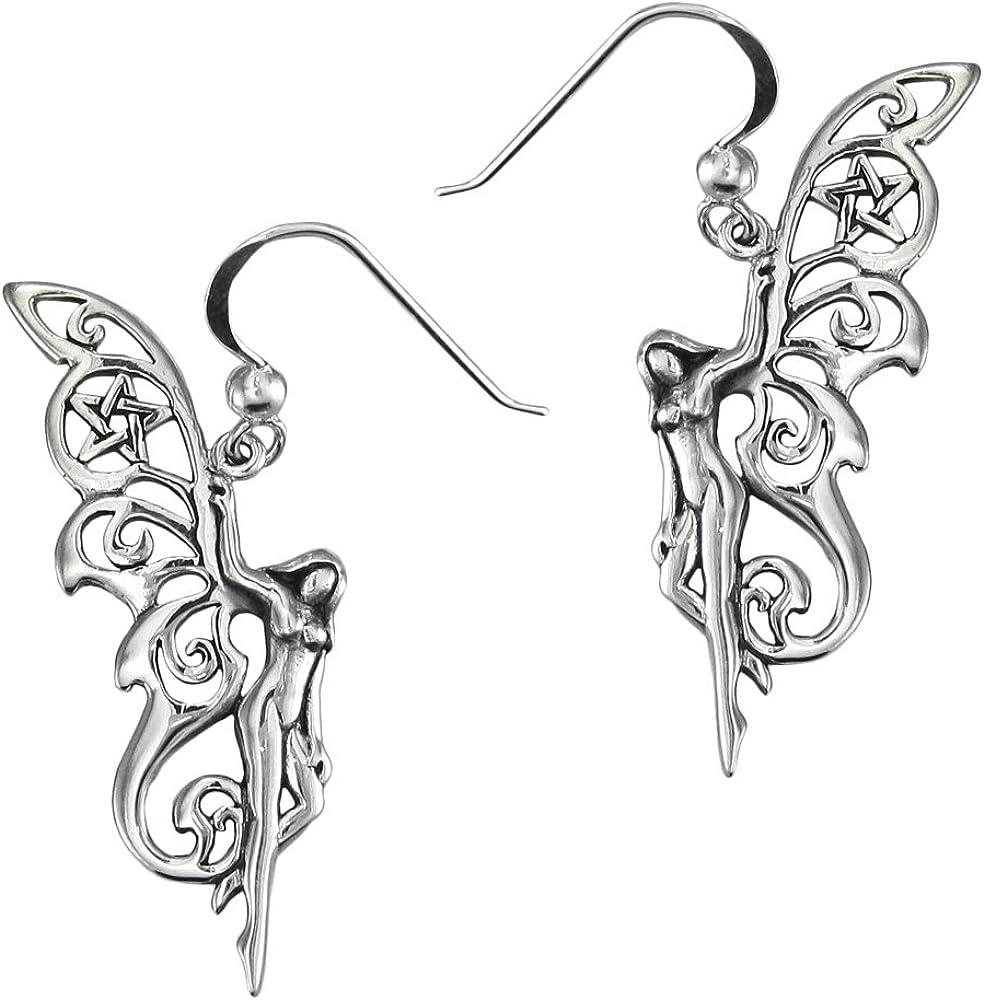Sterling Silver Pagan Pentacle Faerie Earrings