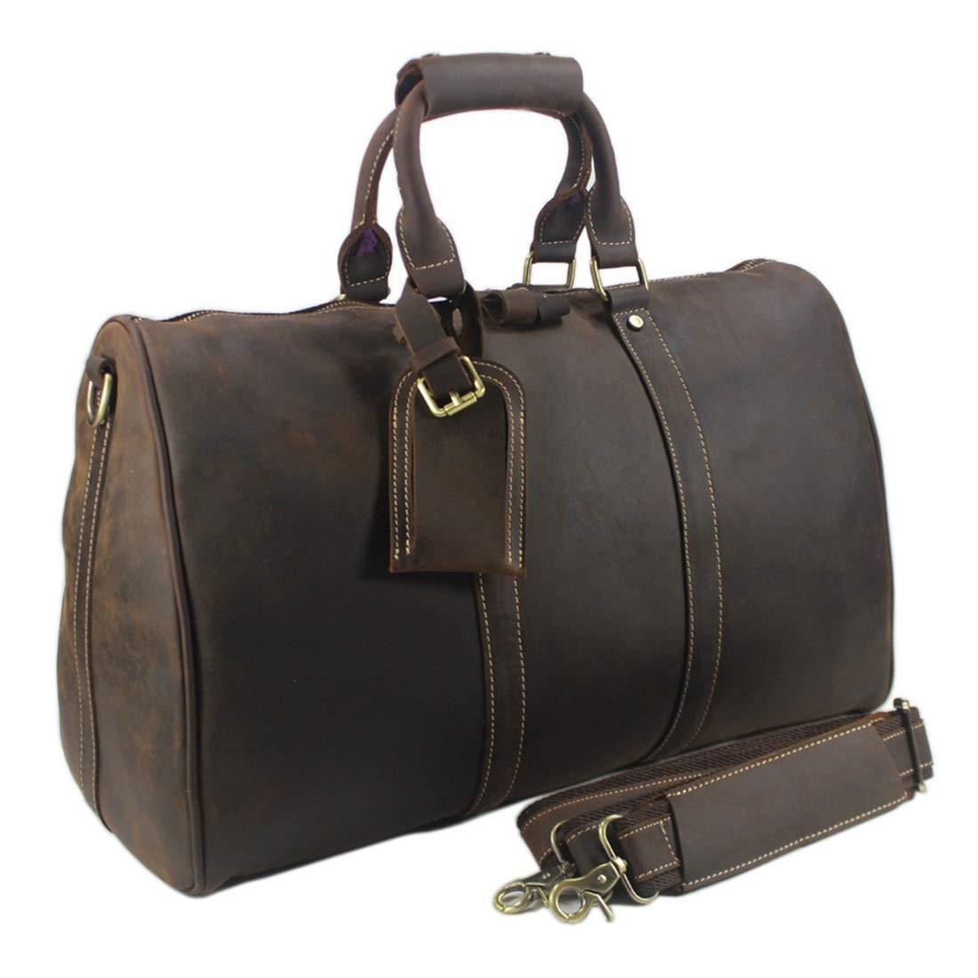 Vergeania 男性旅行バッグキャリングバッグ本革大容量荷物レザークロスボディバッグ手荷物折りたたみ式荷物スポーツベルトフィットネスバッグ防水バッグ大型荷物 (色 : ブラウン) B07S2BH9QX ブラウン