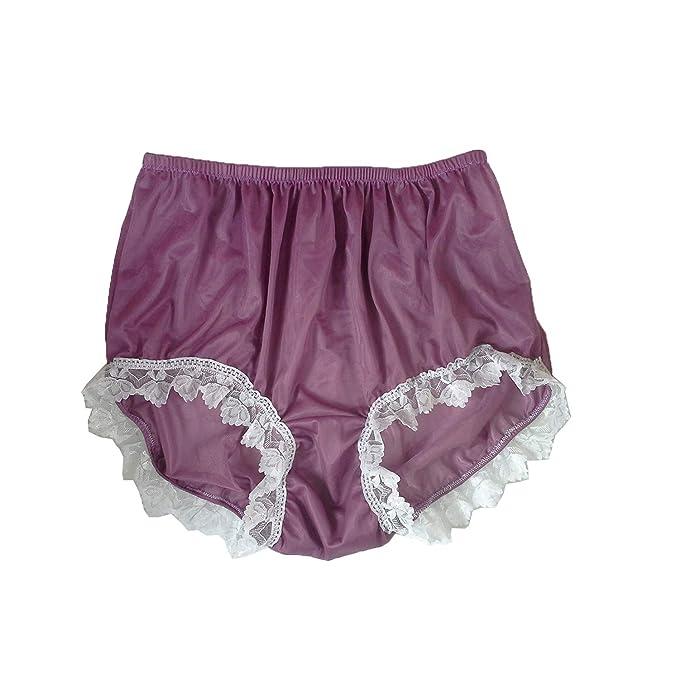 cd8a96e9e540ba NNH24D14 Deep Pink Lace Handmade Briefs Nylon New Knickers Panties  Underwear Lingerie Men Women (XL