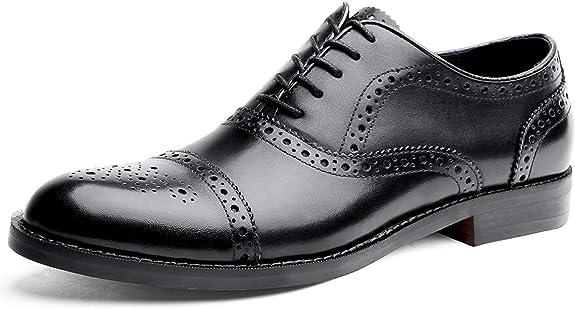 TALLA 39 EU. Desai Zapato Piel Brogue con Cordones Oxford Para Hombre