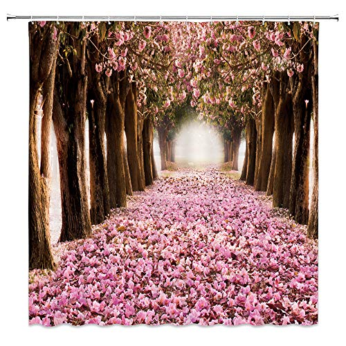 dachengxing Romance Floral Shower Curtain Gardening Art Decor Early Spring Cherry Blossoms Petals Falling Flower Sea Landscape,Pink Brown Fabric 70x70 Inch Hooks Included