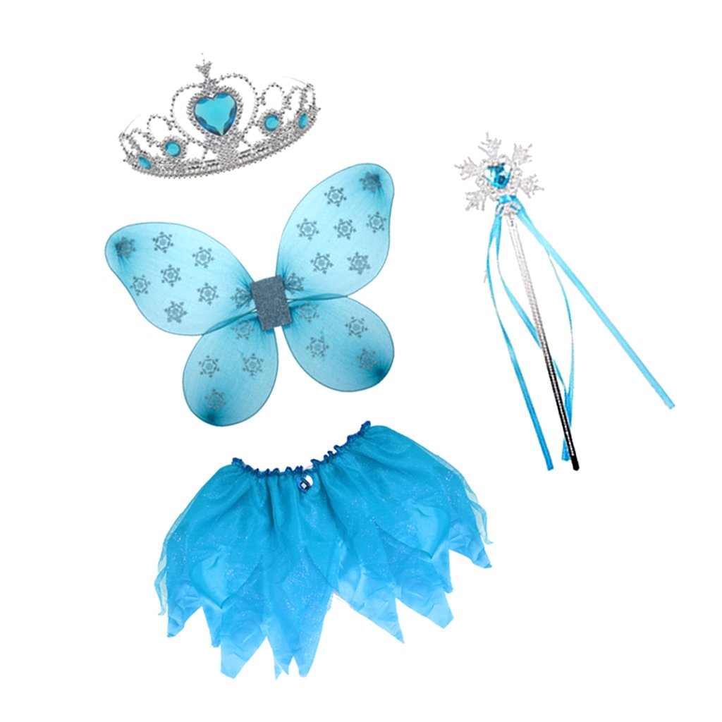 Butterfly Wing Crown Headband Fairy Wand Skirt Halloween Costume Fancy Dress