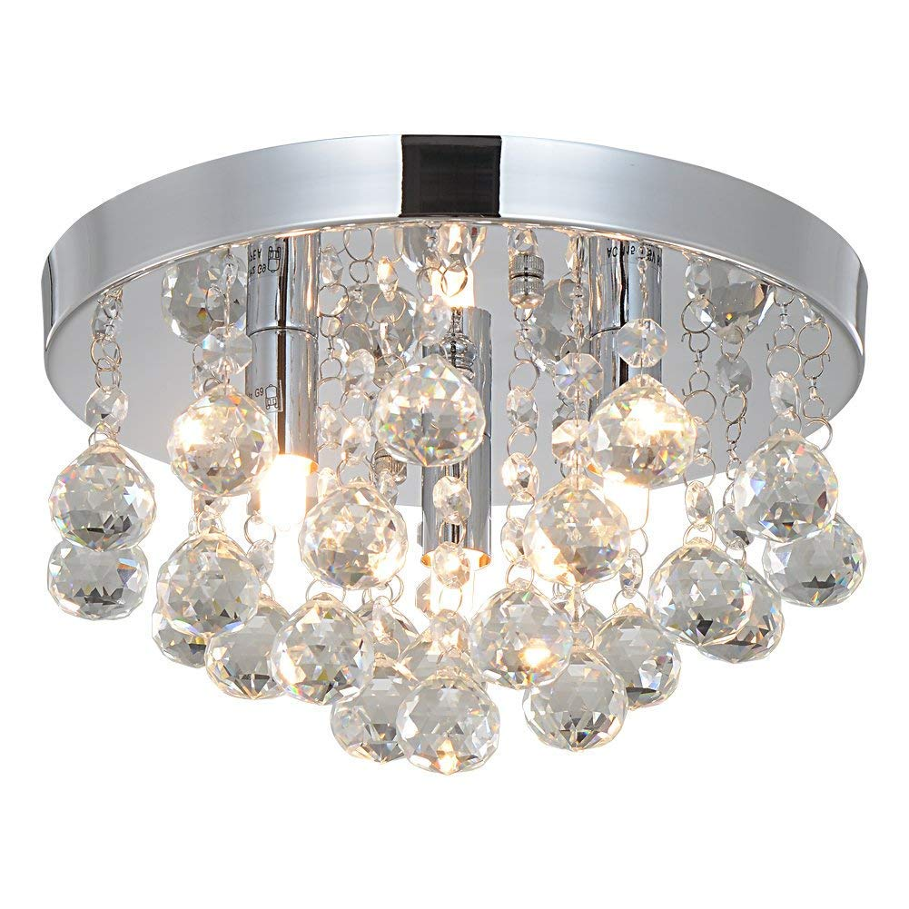 Crystal Chandeliers Lighting Sold By RH RUIVAST, Flush Mount Ceiling Light 3G9 Lights Fixture, H9.85'' x W5.7'' ,Mini Style Modern Ceiling Lamps Used for Bedroom Dining Room Study Balcony and Aisle