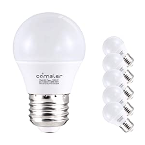 Comzler 6W A15 LED Bulb Daylight 60 Watt Equivalent, E26 Medium Screw Base Small Light Bulb Cool White 5000K, Home Lighting Decorative Ceiling Fan Light Bulbs Non-Dimmable(Pack of 6)