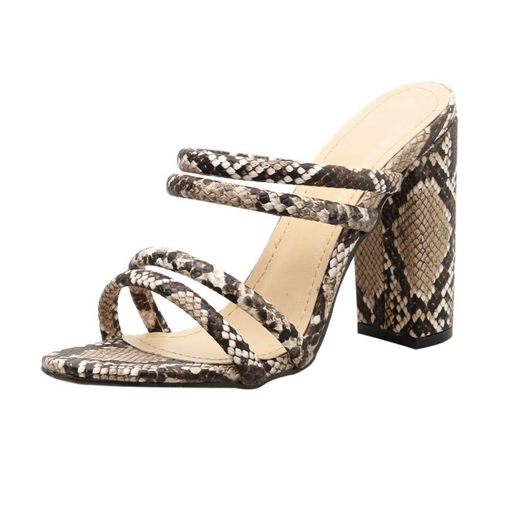 Nadition New Summer Sandals❤️️ Ladies Snake Printing Classic Coarse High Heels Shoes Wedding Party Sandals Slipper Khaki