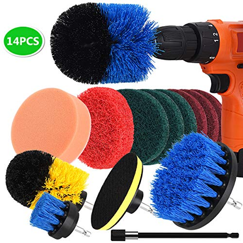 Drill Brush, NUOSEM Power Scrubber Brush Cleaning Kit - 14pcs Drill Brush Attachment for Bathroom Surface, Grout, Tub, Shower, Kitchen, Floor, Tile, Corners, Pool, Aotumotive, Grill Cleaning Brush (Best Grout For Bathroom Floor)