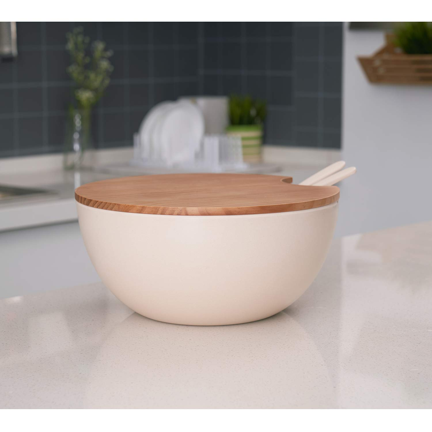 Bamboo Fiber Material Perfect for Salad Fruit Pasta Red 8PCS Large Salad Bowl Set(6 Quart)with Lid and Servers Extra Large Serving Bowl Set Mixing Bowl Set with Wooden Cutting Board