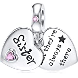 JIAYIQI Mother Sister Daughter Wife Charms Fit Pandora Charms Bracelet with Double Heart Love Charms 925 Sterling Silver Bead