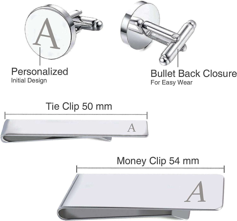 BodyJ4You 5PC Cufflinks Tie Bar Money Clip Button Shirt Personalized Initials Alphabet A-Z Gift Set