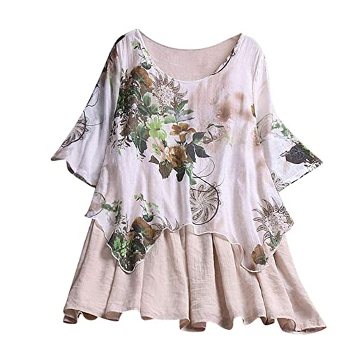 6efc9da5836 TUSANG Womens Plus Size Casual Printed Floral Color Casual O-Neck Shirts  Blouse Top Loose