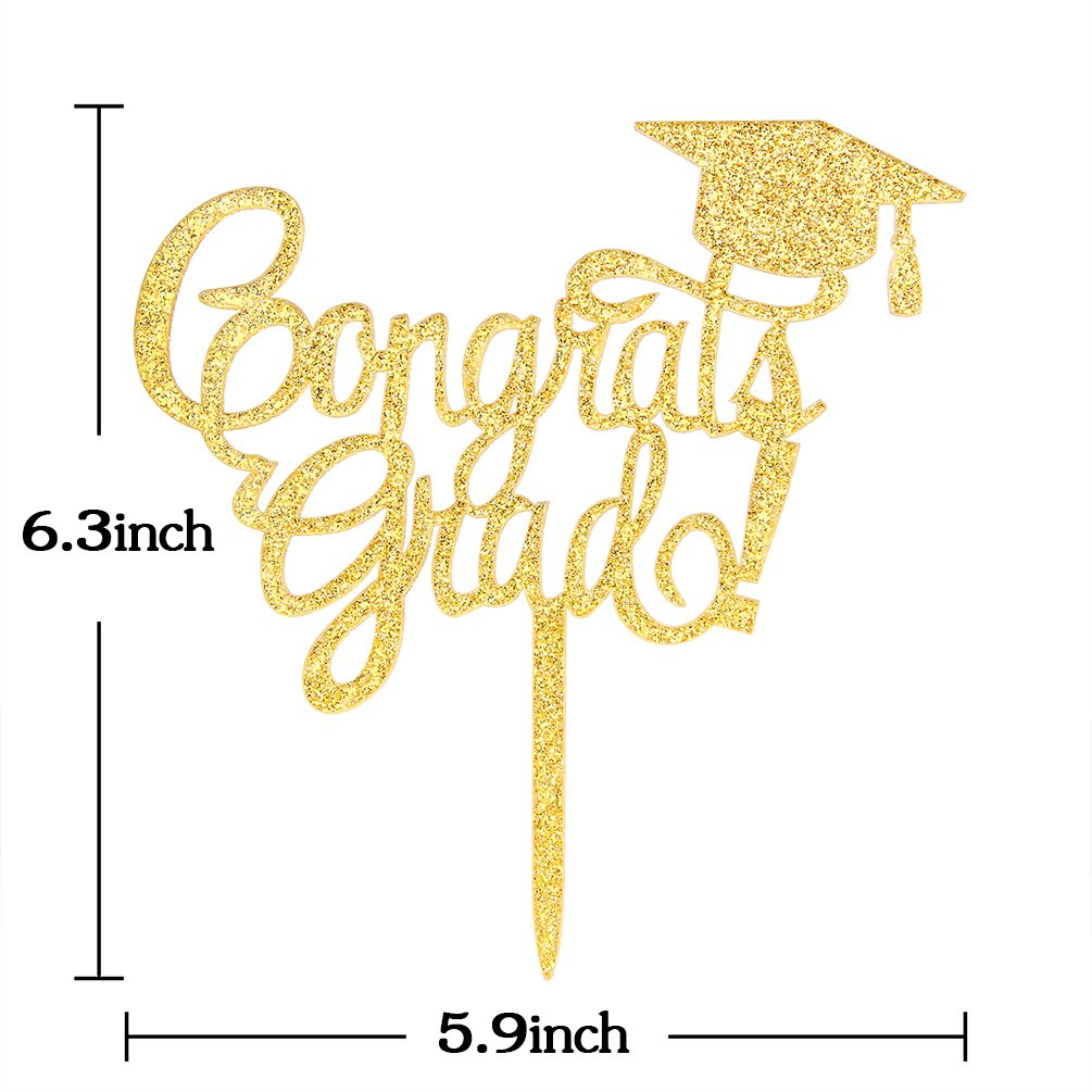 INNORU Congrats Grad Cake Topper - Class of 2018 Graduate Party Decorations Supplies - High School Graduation, College Graduate Cake Topper (Glitter Gold) by INNORU (Image #5)