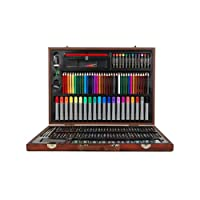 Complete Paint Drawing Art Kit Set with 167 Piece Stylish Wooden Storage Case