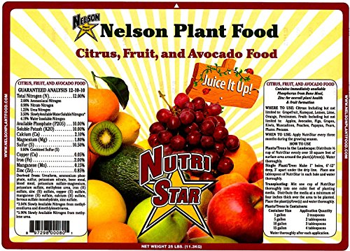 Citrus Fruit and Avocado Tree Plant Food In Ground Container Patio Grown Granular Fertilizer NutriStar 12-10-10 (25 LB)