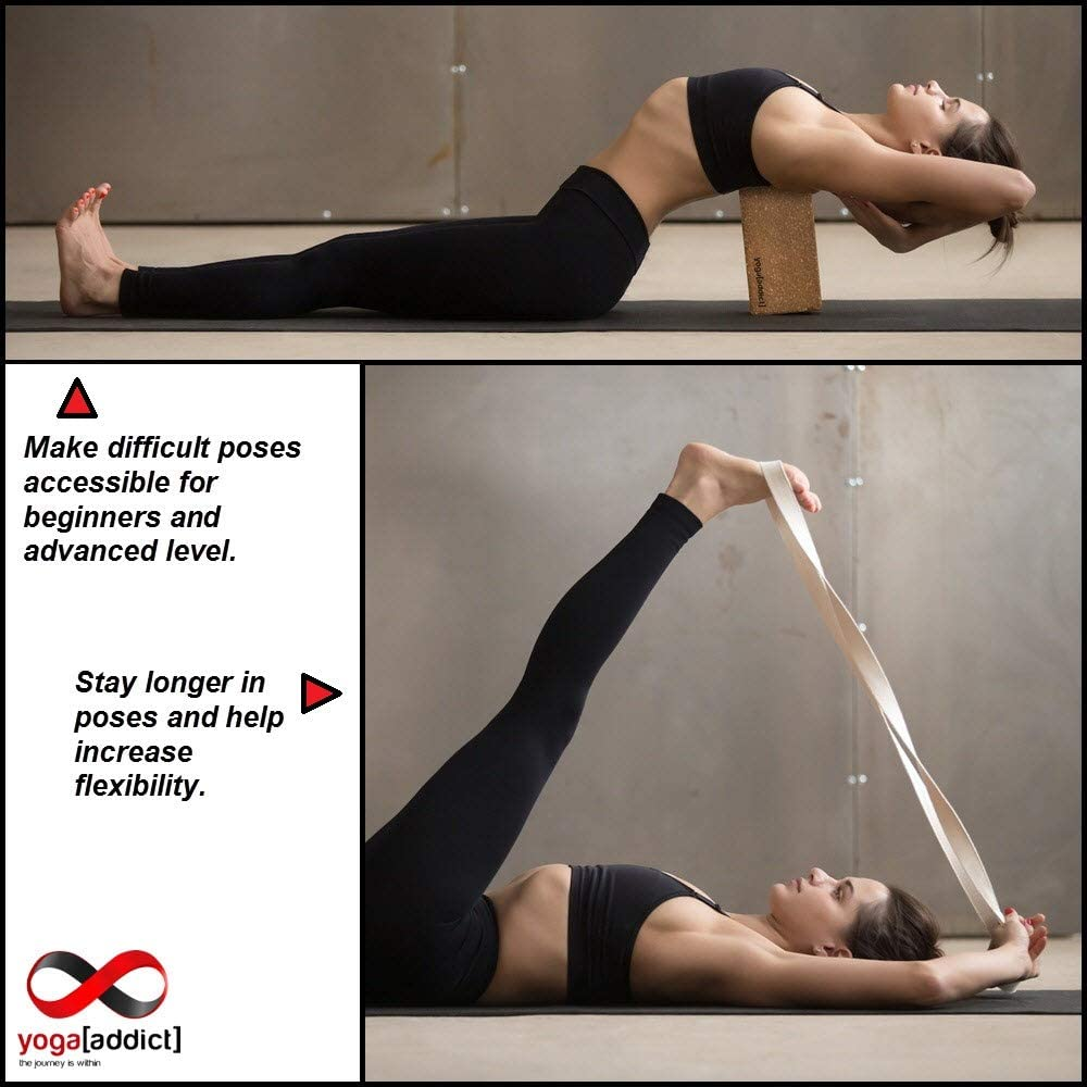 Amazon.com: YogaAddict Bloques de espuma y corcho para yoga ...