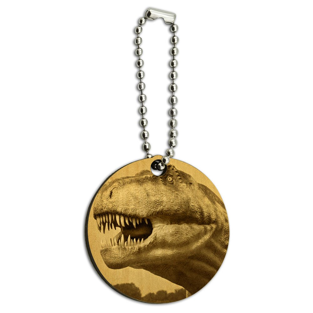 Vintage Dinosaur Tyrannosaurus T-Rex Wood Wooden Round Key Chain