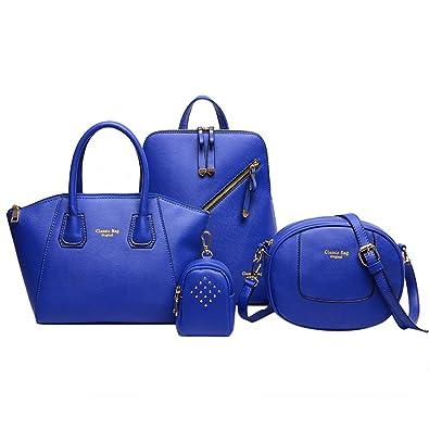 ab0a1e963c73 Amazon.com  Bzybel Womens Fashion Handle Satchel Handbags Shoulder Bag Top  Handle Purse Designer Tote Bag 4 Sets (Blue)  Shoes