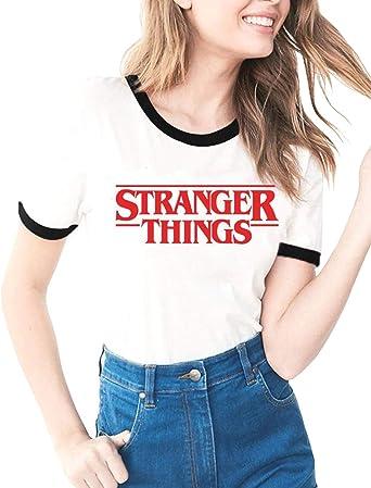 Camiseta Stranger Things Mujer, Camiseta Stranger Things Temporada 3 Niña Impresión Ringer T-Shirt Abecedario Camiseta Stranger Things Chica Camisa de Verano Regalo Camisetas y Tops: Amazon.es: Ropa y accesorios