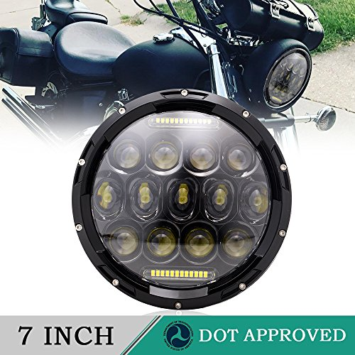 DOT 7 Inch LED Headlight DRL Hi/Lo Beam For Harley Davidson Breakout Deluxe Fatboy V-Star Sportster Iron Softail Street Glide Indian Scout Mazda Miata Victory Octane Honda Shadow JEEP Wrangler JK JKU Tj Unlimited Iron
